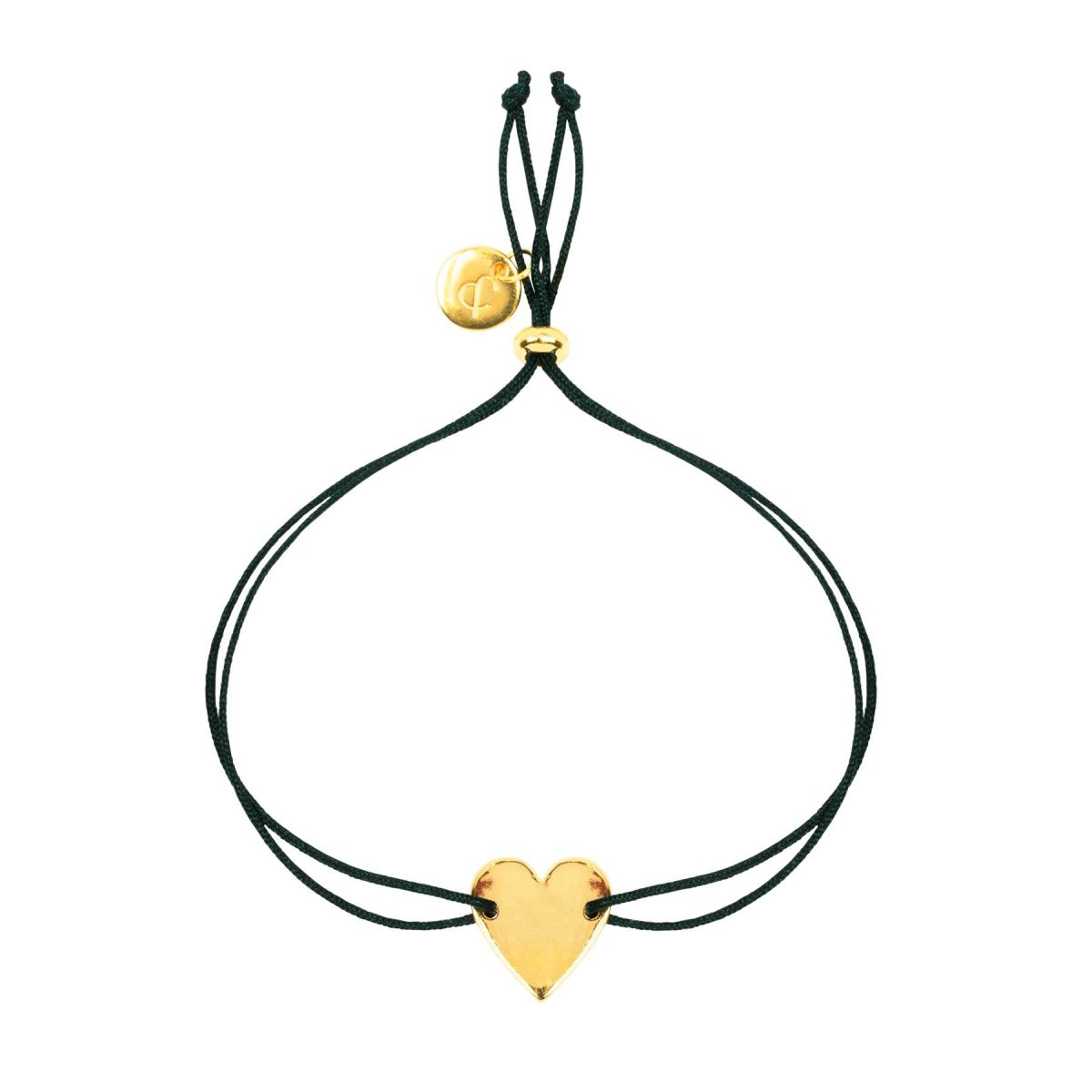 &anne bracelet - 24k gold plated heart charm with satin black cord