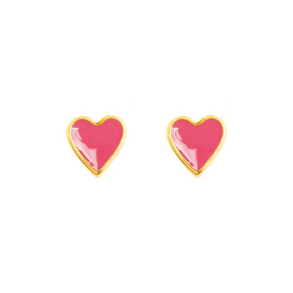Beautiful &anne studs - 24k gold plated and enamel - dark pink