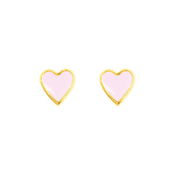 Studs &anne - 24k gold plated and enamel - light pink