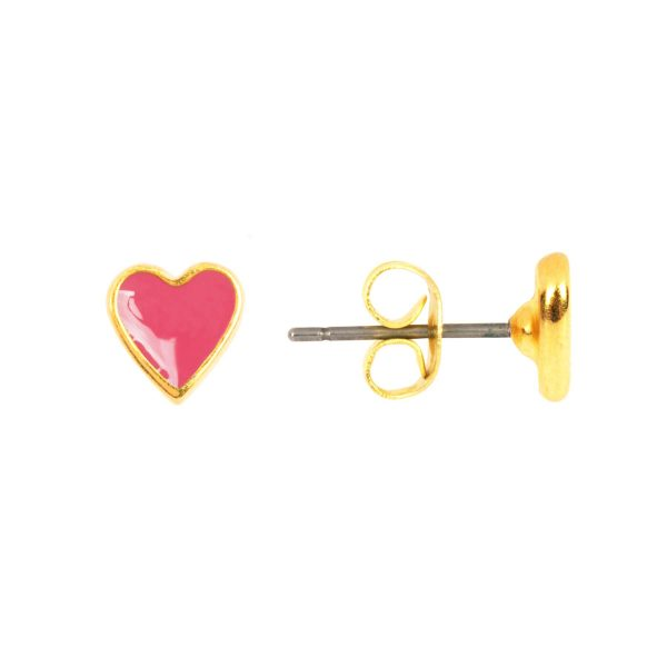 &anne studs - 24k gold plated and enamel - dark pink