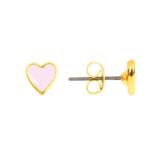 &anne studs - 24k gold plated and enamel - light pink