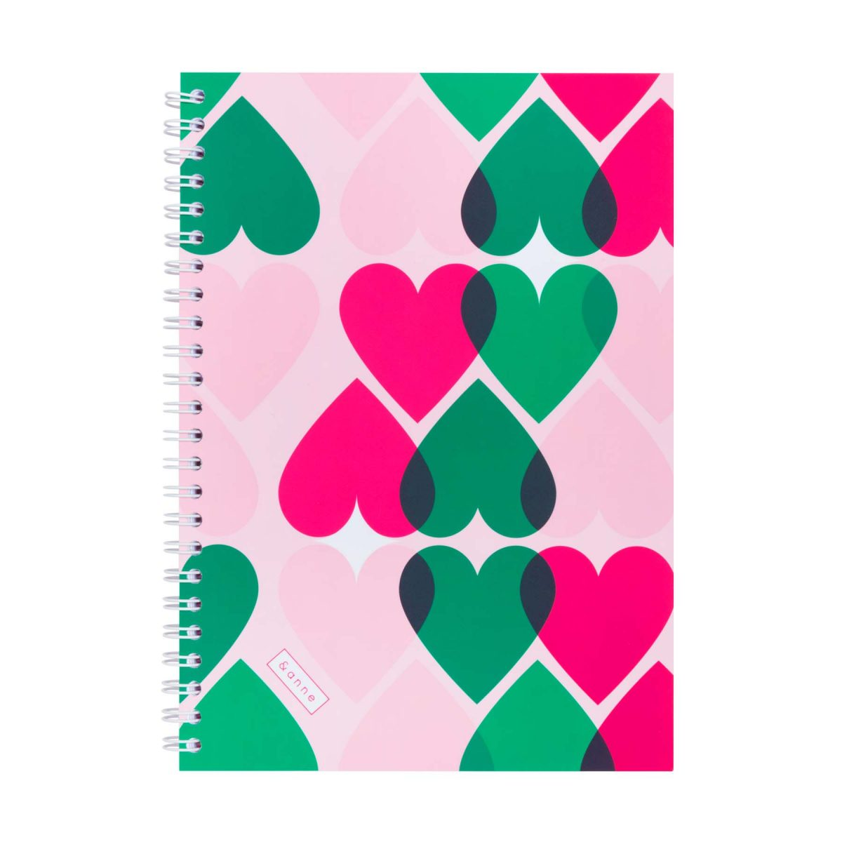 notebook &anne - green and pink hearts