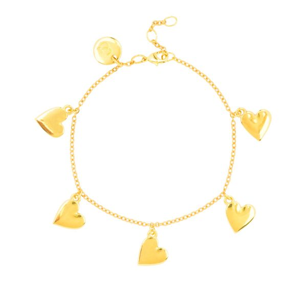 Trendy 24k gold plated bracelet with little heart charms and gift box from the &anne collection