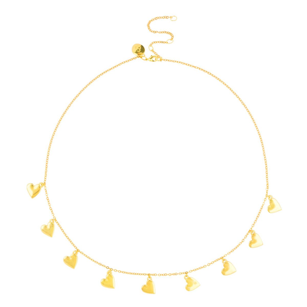 Beautiful 24k gold plated necklace with little heart charms and gift box from the &anne jewelry collection