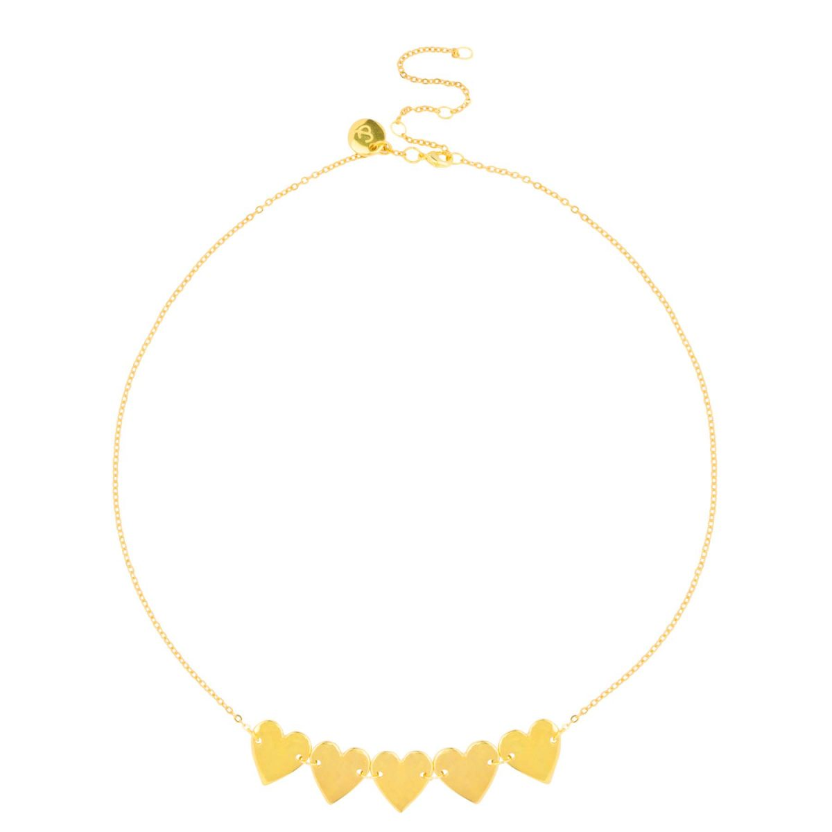 Trendy 24k gold plated necklace with little heart charms from the &anne jewelry collection