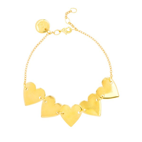 Beautiful 24k gold plated bracelet with 5 hearts from the &anne jewelry collection